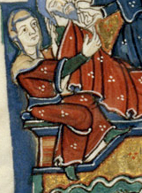 Woman in a red bliaut over a green cote. She also wears a veil and green shoes, c. 1125-1150