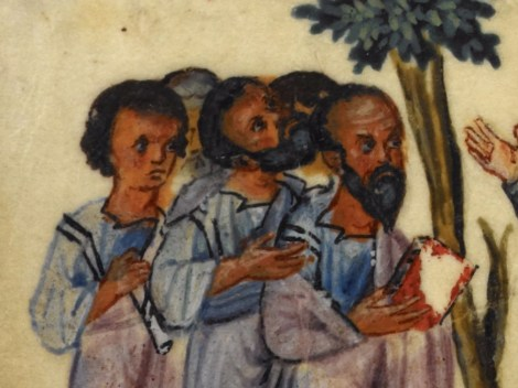 Group of men (possibly the disciples). They look short haired and bearded with no head covering. One is clean shaven. 1000's