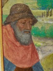 Elderly man with a full grey beard and a hat with a down turned brim. c. 1485-1490