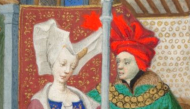 "Lady wearing a wired ""horned"" headdress with a veil and a man in a chaperon in a fancy style. c. 1410-1430"