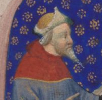 scholar in a yellow hat with upturned corners and a very pointy beard. c. 1410-1430 the Bedford Hours c. 1410-1430