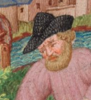 Farmer wearing a black straw hat with the brim aranged to mimic some of the court styles. He has a full beard and chin length hair. c. 1410-1430 the Bedford Hours c. 1410-1430