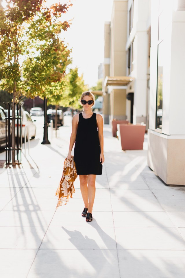 little black dress + black patent mules + long kimono