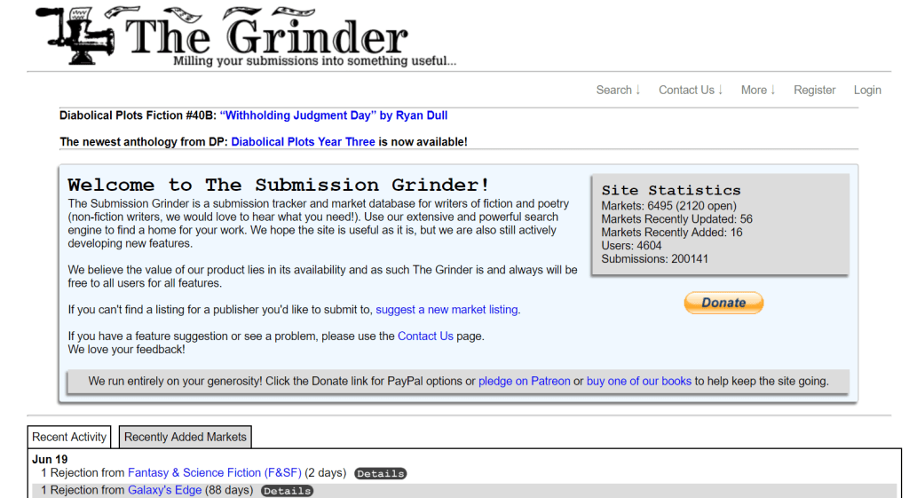 Screenshot of Submission Grinder submission tracking website home page