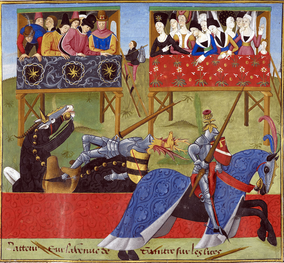 Medieval manuscript artwork of two knights jousting, while lords and ladies in elevated boxes look on. Jean de Saintré jousts with the Spanish knight, Enguerrant, at a tournament.