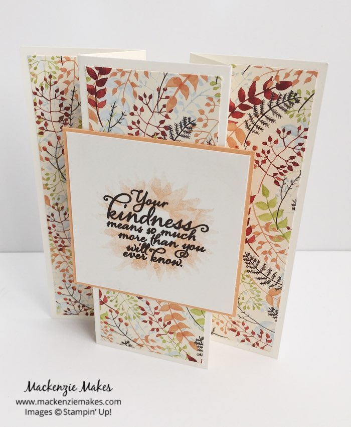 One Sheet Wonder Card Set with Painted Autumn DSP – Create 9 cards using 1 sheet of paper from the Painted Autumn Designer Series Paper pack. Click through to learn how and to get the template design. | #mackenziemakes #makewithme #stampinup | www.mackenziemakes.com