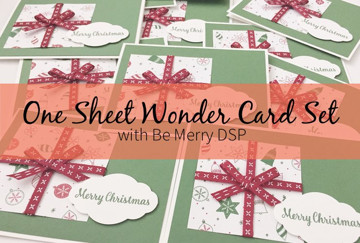One Sheet Wonder Card Set with Be Merry DSP – Create 16 cards using 1 sheet of paper from the Be Merry Designer Series Paper. Click through to learn how and to get the template design. | #mackenziemakes #makewithme #stampinup | www.mackenziemakes.com