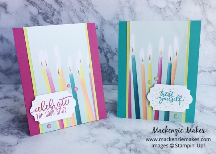 "Picture Perfect Party Birthday Cards – Click through to learn how to make these fun and quick ""his and hers"" birthday cards featuring the Picture Perfect Party Suite from Stampin' Up! 