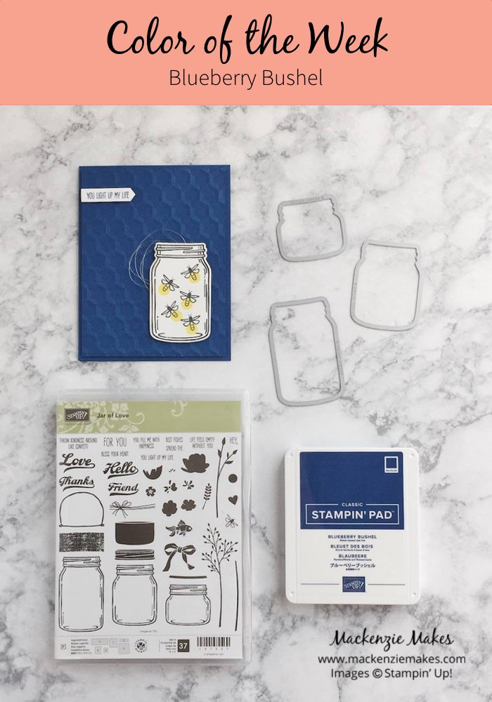 Color of the Week - Blueberry Bushel – Click through to see this week's Color of the Week - Blueberry Bushel. Find color combinations and comparisons, and a list of products containing this color. | #mackenziemakes #makewithcolor #stampinup | www.mackenziemakes.com