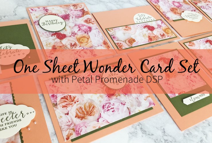 One Sheet Wonder Card Set with Petal Promenade DSP – Create 10 beautiful cards using 1 sheet of paper from the Petal Promenade Designer Series Paper. Click through to learn how and to get the template design. | #mackenziemakes #makewithDSP #stampinup | www.mackenziemakes.com
