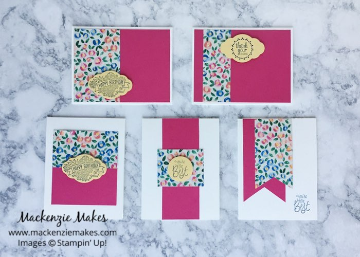 "One Sheet Wonder Card Set with Garden Impressions DSP – Create 5 cards using 1 sheet of paper from the 6"" x 6"" Garden Impressions Designer Series Paper pack. Click through to learn how and to get the template design. 