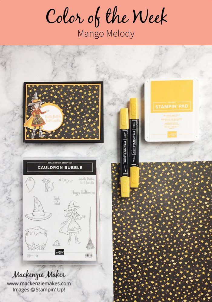Color of the Week - Mango Melody – Click through to see this week's Color of the Week - Mango Melody. Find color combinations and comparisons, and a list of products containing this color. | #mackenziemakes #makewithcolor #stampinup | www.mackenziemakes.com