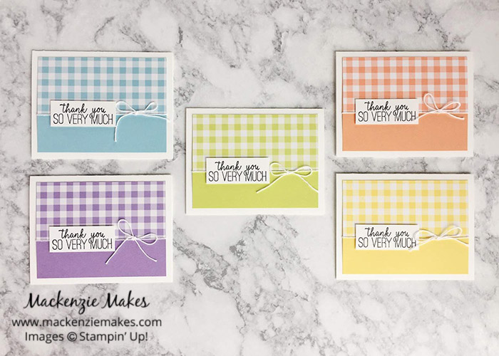 5 Sheet Wonder Cards with Gingham Gala DSP – Create 12 beautiful cards using 5 sheets of paper from the Gingham Gala Designer Series Paper. Click through to learn how and to get the template design. | #mackenziemakes #makewithDSP #stampinup | www.mackenziemakes.com