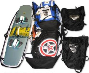 Packing a kiteboarding equipment bag