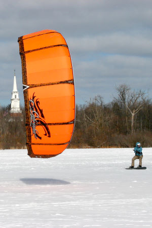 Snowkiting with a Cabrinha kiteboarding kite