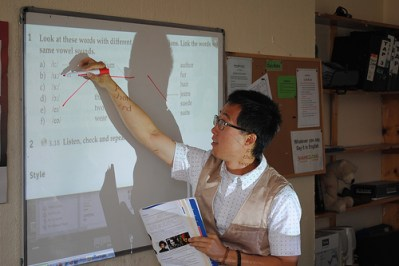 a tutorial assistant teaching his class