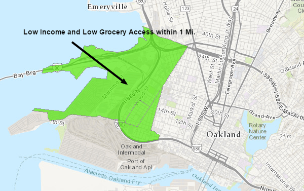 Map of West Oakland Food Desert
