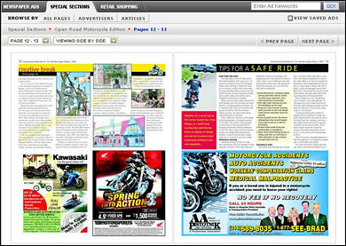 Two-page spread in the Open Road Motorcycle Edition