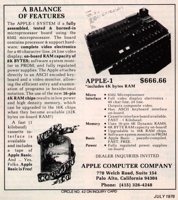 1976 print ad for Apple 1