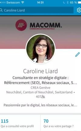 Caroline Liard sur Linkedin