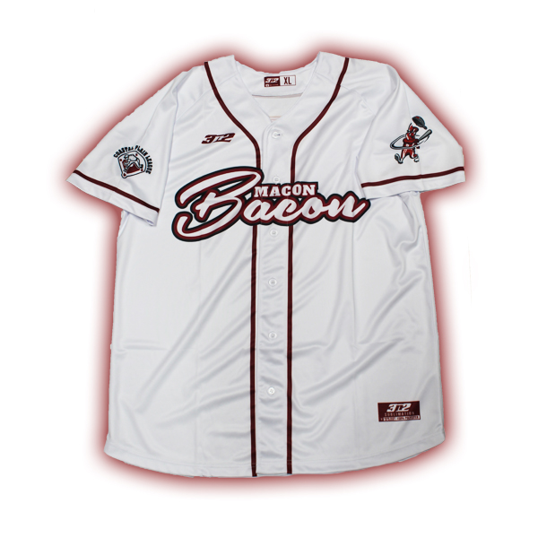 Authentic Home White Jersey - Macon Bacon Baseball