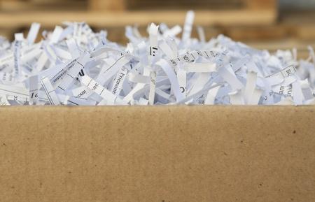 shredded waste paper strips
