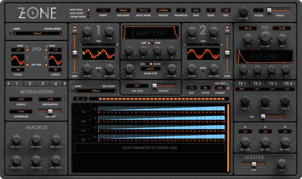 Audiaire intros Zone parameter sequencing synth
