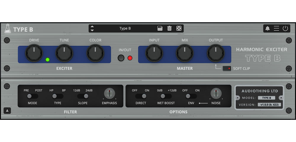 AudioThing presents Type B vintage exciter plugin