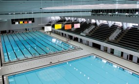 The new indoor complex was built with 2 flag raising systems for the main pool and multi-purpose pool.