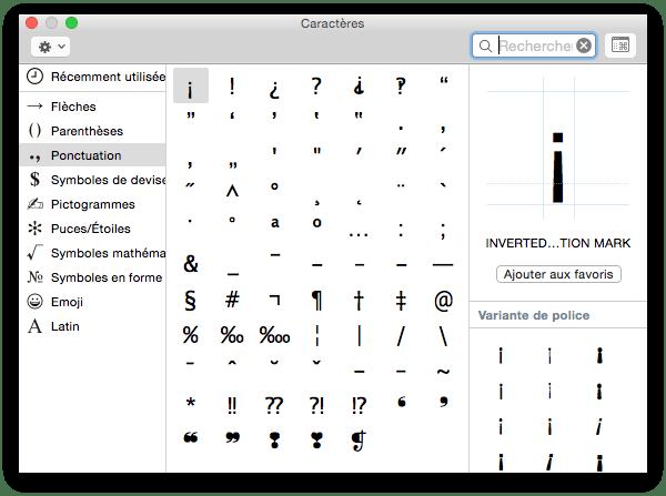 clavier virtuel yosemite caracteres