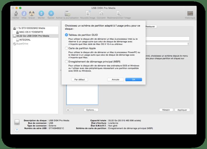 installer Yosemite sur cle USB mac tableau de partition GUID