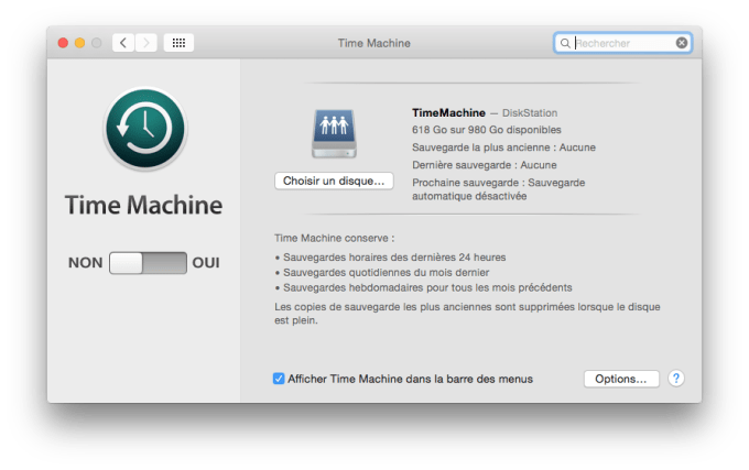 time machine yosemite configuration