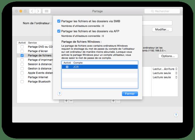 partage de fichiers Mac smb afp