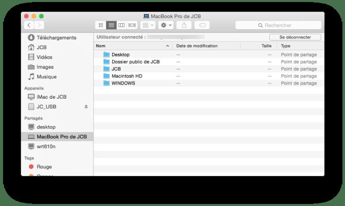 partage de fichiers imac vue macbook