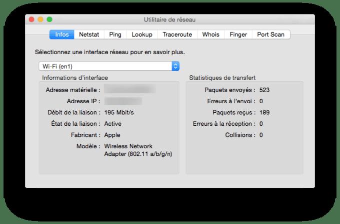 vitesse de connexion sur mac wifi