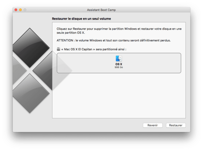 supprimer boot camp restaurer partition windows