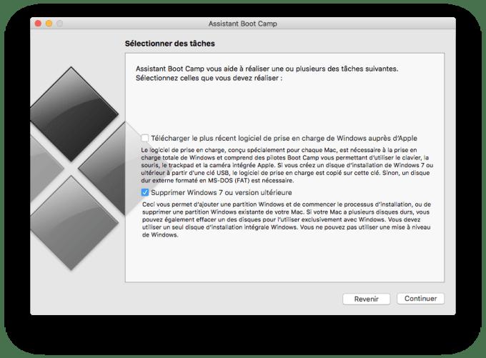 supprimer bootcamp windows 7 ou version ulterieure