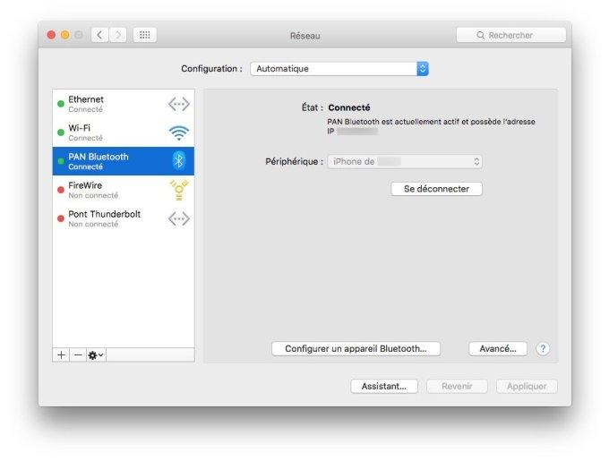 Utiliser WiFi et Ethernet sur Mac iphone