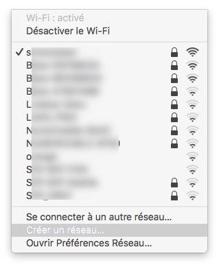 Creer un reseau WiFi sur Mac barre de menus