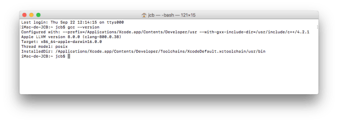 Installer XCode macOS Sierra verifier gcc
