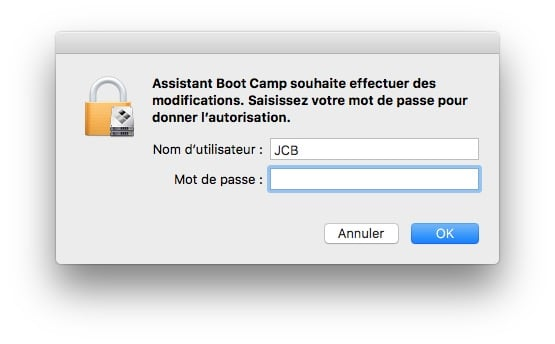 dual boot macOS Sierra Windows 10 mot de passe admin