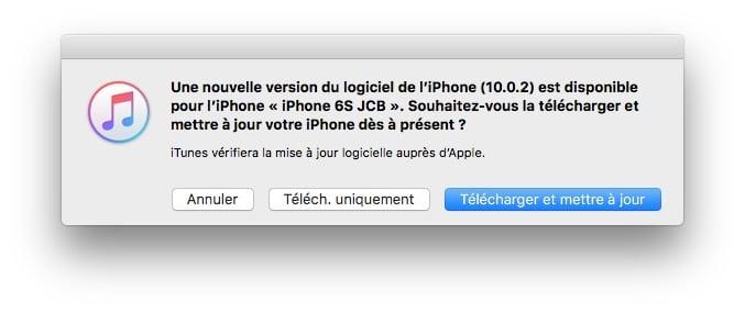 iOS 10.0.2 mettre a jour