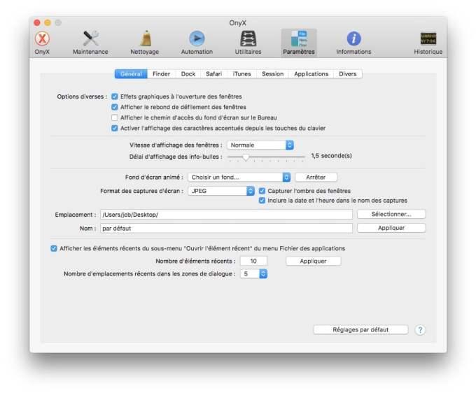 Onyx macOS Sierra format captures ecran