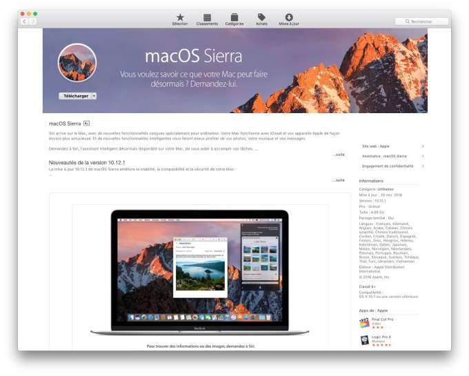 Installer macOS Sierra sur cle USB telecharger