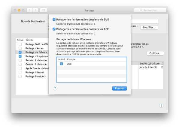 Creer un reseau entre un Mac partage de fichiers smb et afp mac windows linux