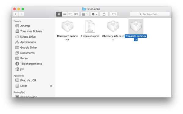 Supprimer une extension Safari mac supprimer manuellement extension safari