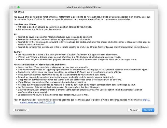 iOS 10.3.1 mise a jour iphone