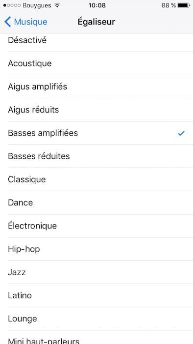 egaliseur audio iphone