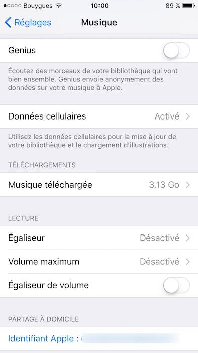 egaliseur iphone 7 6 5 activer