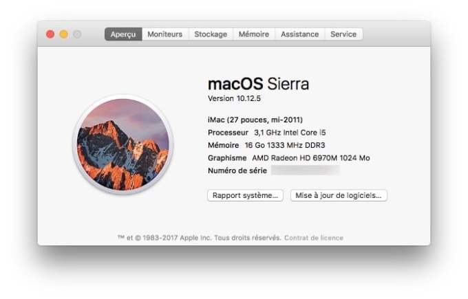 macOS 10.12.5 informations systeme